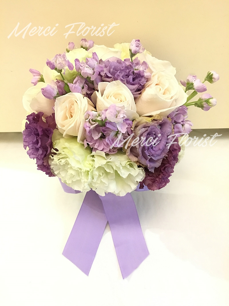 Merci florist the happiness from your heart specializes in wedding bouquet rseu pp05 cream rose light purple musk green purple eustoma round bridal izmirmasajfo